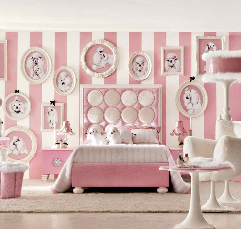 Little-Girls-Room-Decorating-Ideas-With-White-Seat