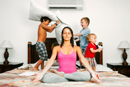 stressed-mom-yoga-bed